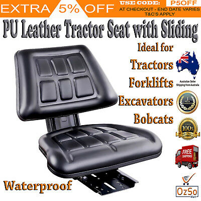 NEW Universal Tractor Forklift Excavator Seat Backrest Chair PU Leather Compact