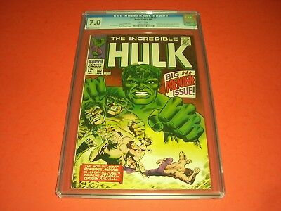 The Incredible Hulk 102 CGC 7.0 w/ WHITE PAGES 1968! Begin Own Series not CBCS