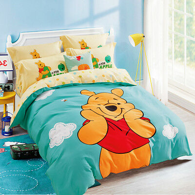 Winnie the Pooh Quilt Duvet Doona Cover Set Queen Size Cotton Bed Pillowcase New