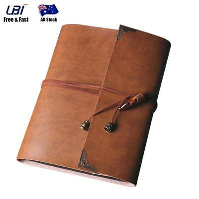 Vintage PU Leather Photo Album Scrapbook Pro Brown Memory Diary Memo Book Gifts