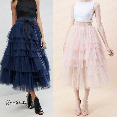 Fashion Summer Women Boho Lace Tiered Ruffle Flower High Waist Beach Long Skirt