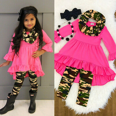 US Toddler Kids Girls Outfits Clothes Ruffle Tops Dress+Camo Leggings Pants Set
