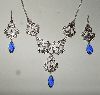 Filigree Victorian Style Silver Plate Blue Briolette Drop Necklace Earring Set