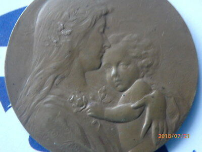 Bronzemedaille, Jugendstil, Mutter,Kind,Blumen 1910  44mm, 34,1g