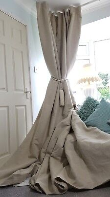 NEW! Heavy 312cm Long 140cm Wide Natural 100%Irish Linen Lined Bay Curtains