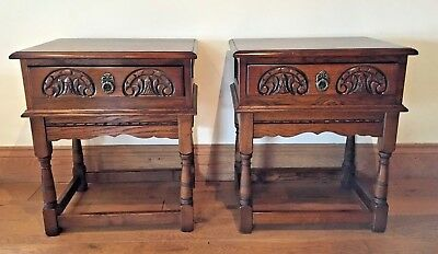 Pair of Old Charm Wood Bros Tudor Oak Side Tables Bedside Lamp Coffee Hall Table