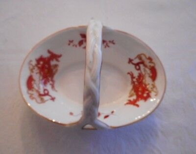 Vintage Crown Staffordshire Bone China Trinket Basket Rangoon Red Dragon England