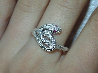 Sterling Silver Snake Venomous Viper Cobra Serpent Coiled Ring US Size 8 8.5 925