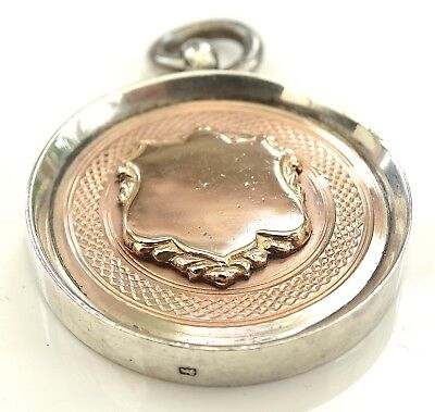 VINTAGE ROSE GOLD & STERLING SILVER WATCH CHAIN FOB MEDAL / FOOTBALL CLUB 9.8g