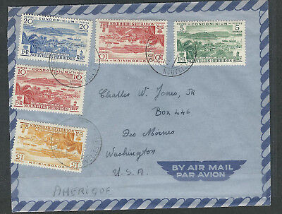 New Hebrides (British) Stamps 82-85 Cover Port Vila - Des Moines WA ca 1957