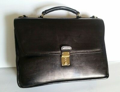 Sophisticated Crouch and Fitzgerald Black Leather Briefcase