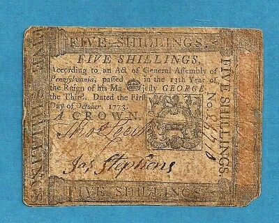 1773 Pennsylvania 5 Shillings Colonial Currency Very Fine