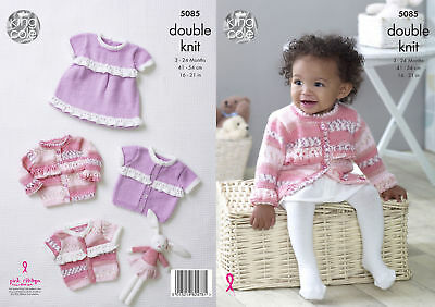 King Cole DK Knitting Pattern 5085:Frilled Dress & Cardigans