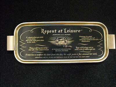 """Vintage Woodmet METAL Tray size 18"""" x 7""""  Repent at Leisure - Marriage"""