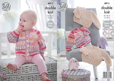 King Cole DK Knitting Pattern 4911:Raglan Cardigans & Sweater