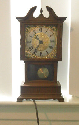 Vintage Miniature Electric Grandfather Clock By Sunbeam Faux Walnut Wood 9""