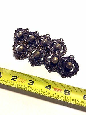 Antique brass ring drop pulls- set of 8, backplates only