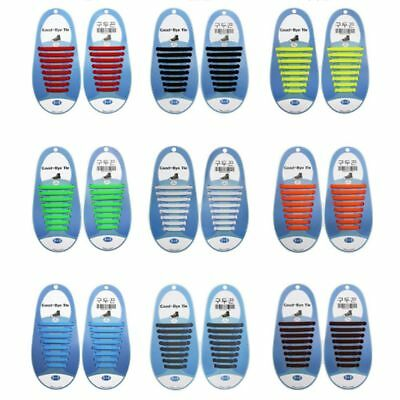 16Pcs Easy No Tie Shoelaces Elastic Silicone Flat Lazy Shoe Lace Free Track New