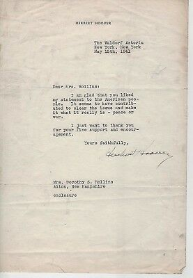 Herbert Hoover Typed letter sent just before World War II