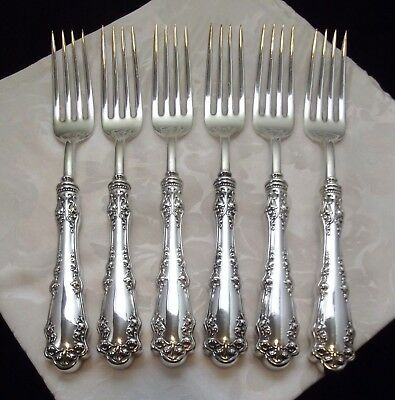 "1847 Rogers Bros BERKSHIRE Pattern~ Set of 6 HH Dinner Forks 8"" ~ 1897 ~ Nr Mint"