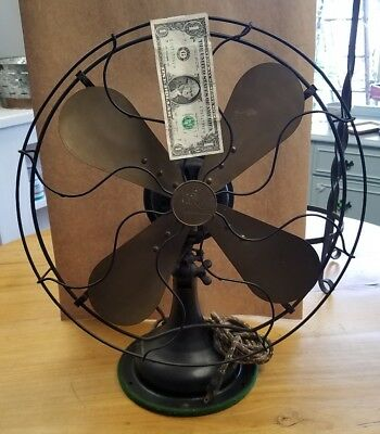 Antique Large Robbins & Myers R&M Brass 4 Blade Oscillating Fan  No.2417B WORKS!