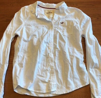 Hollister Boys Youth Long Sleeve Button Down Large White