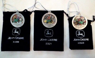 Lot of 3 JOHN DEERE Pewter Christmas Ornaments - 5th 6th and 7th - 2000, 01, 02