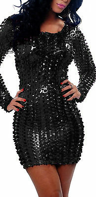Latex Look Sexy Black See Through Dress Long Sleeves Clubbing