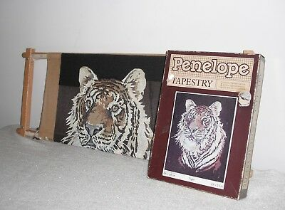 """Vintage Penelope Tapestry of a Tiger 19"""" x 15"""" Partially Completed & On A Frame"""