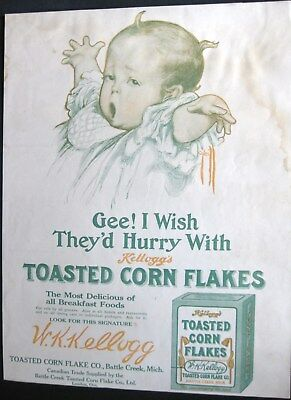 """Vintage """"Kellogg's Toasted Corn Flakes"""", Baby Print, signed O'Neill"""