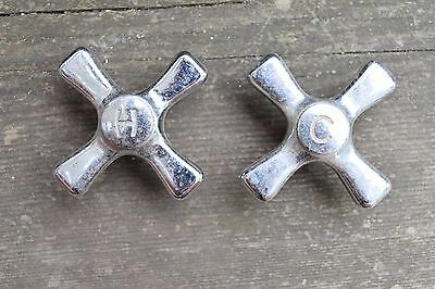 Small Vintage Chrome Deco Hot/Cold Knobs