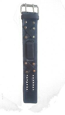 Retro Black Distressed Leather Watch Band - Metal Buckle Close NEW - USA MADE