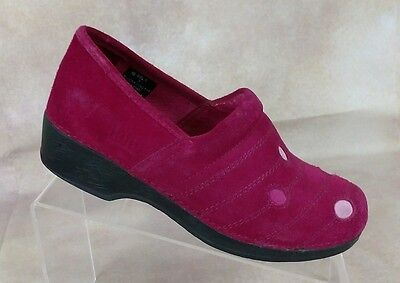 L.L.Bean Girls Youth Raspberry Suede Leather Slip on Polkadot Clog Shoe Sz 5