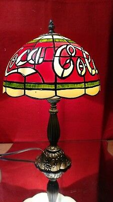 TIFFANY STYLE COCA-COLA STAINED GLASS Look PLASTIC TABLE LAMP VINTAGE LOOK 16""