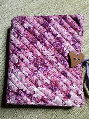 Quilted Handmade Needle Book Pink Royal Horticultural Fabric wooden heart button