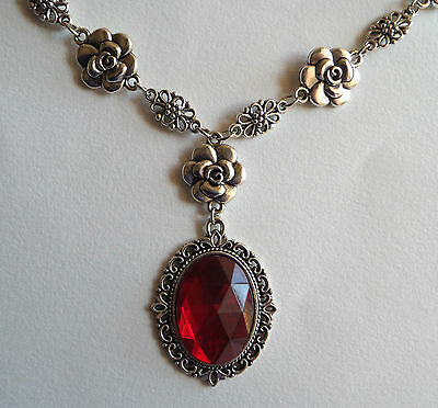 Camellia Filigree Victorian Style Rich Red Acrylic Crystal Silver Pl Necklace Cf