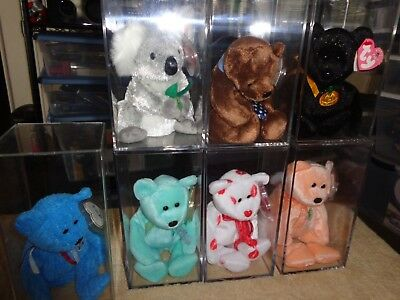 Ty Beanie Baby Bears Lot Of 7 Retired With Hang Tags & Acrylic Display Cases