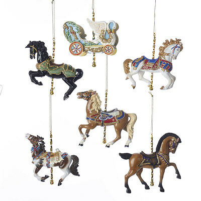 Carousel Horse and Swan Chariot 6 piece Ornament Set Circus Carnival Decor