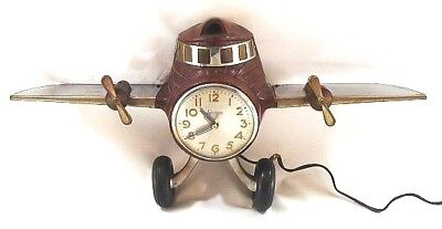 Vintage Airplane Clock Lamp Light Sessions Art Deco Bakelite Chrome Working Unit