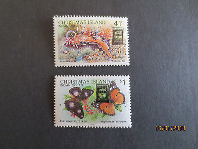 No--1--1989   Christmas    Island Melb;  Stamp  Show  O/prints  2  Stamps-- Mint