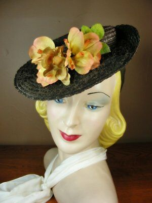 Vintage 30s Brown Cello Straw Tilt Wide Brim Sailor Hat Golden Orange Flower G64