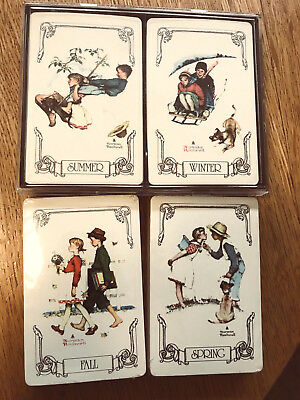 Norman Rockwell  4 Decks Of Vintage  Playing Cards---Spring,fall, Winter, Summer