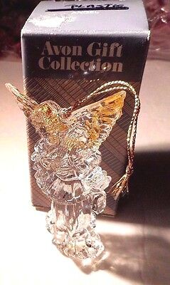 "Avon Angel Christmas Ornament Playing a Harp Gold Wings Acrylic 4"" Boxed Vtg #B"