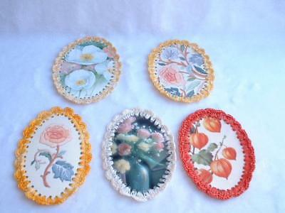 Lot Of 5 Vintage Textured Oil Cloth? With Hand Crocheted Edging Oval Coasters