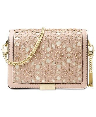 afd90760cfa32f Michael Kors $298 Jade Floral Eyelet Leather Medium Chain Bag Clutch Soft  Pink