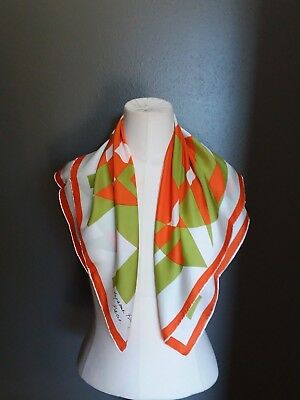 Vintage 1970s French 100% Silk Scarf Print Hand Roll Hankyu Dept.Store New W Box