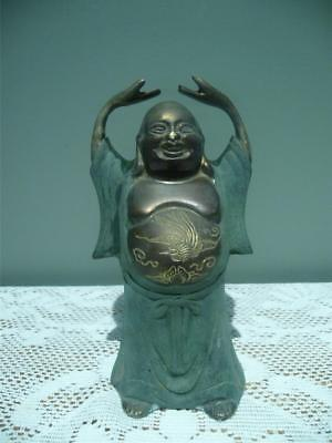 Vintage Painted Metal Figurine - Laughing Buddha - Hands Raised - Etched Tummy