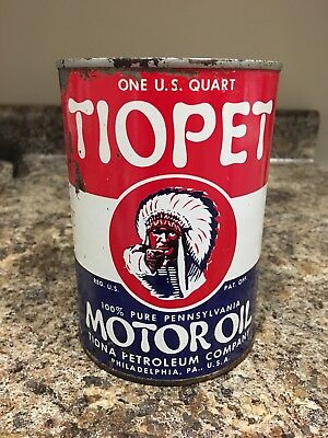 Tiopet Indian 1 Quart Motor Oil Can Tiona