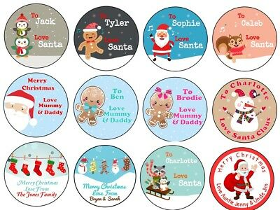 Personalised Christmas Xmas Stickers Labels Gift Tag Present Wrapping Seal