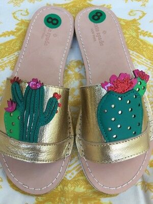 6e7fc9123723 Kate Spade Iguana Gold Metallic Leather Slide Sandal Size 8 CACTUS Floral  Shoe